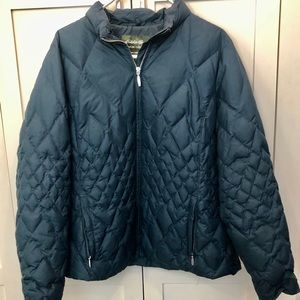 Eddie Bauer down quilted jacket. 1X Teal.